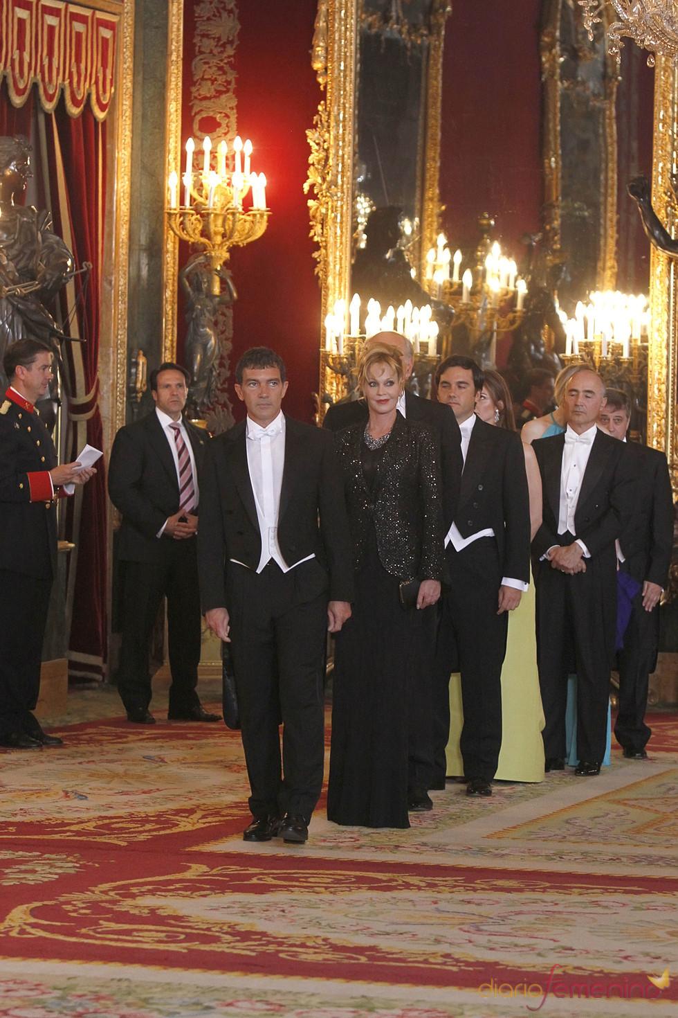 Antonio Banderas y Melanie Griffith en la cena de gala en honor al emir de Qatar