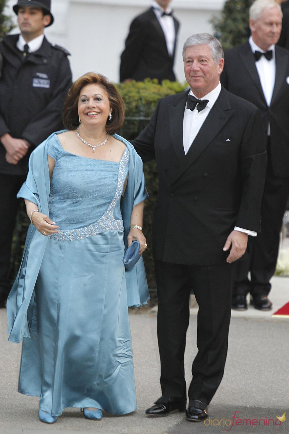 Los Príncipes Katherine y Alexander de Serbia en la cena pre-boda real de Inglaterra