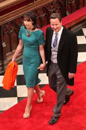 David Cameron y su mujer Samantha llegan a la Abadía de Westminster