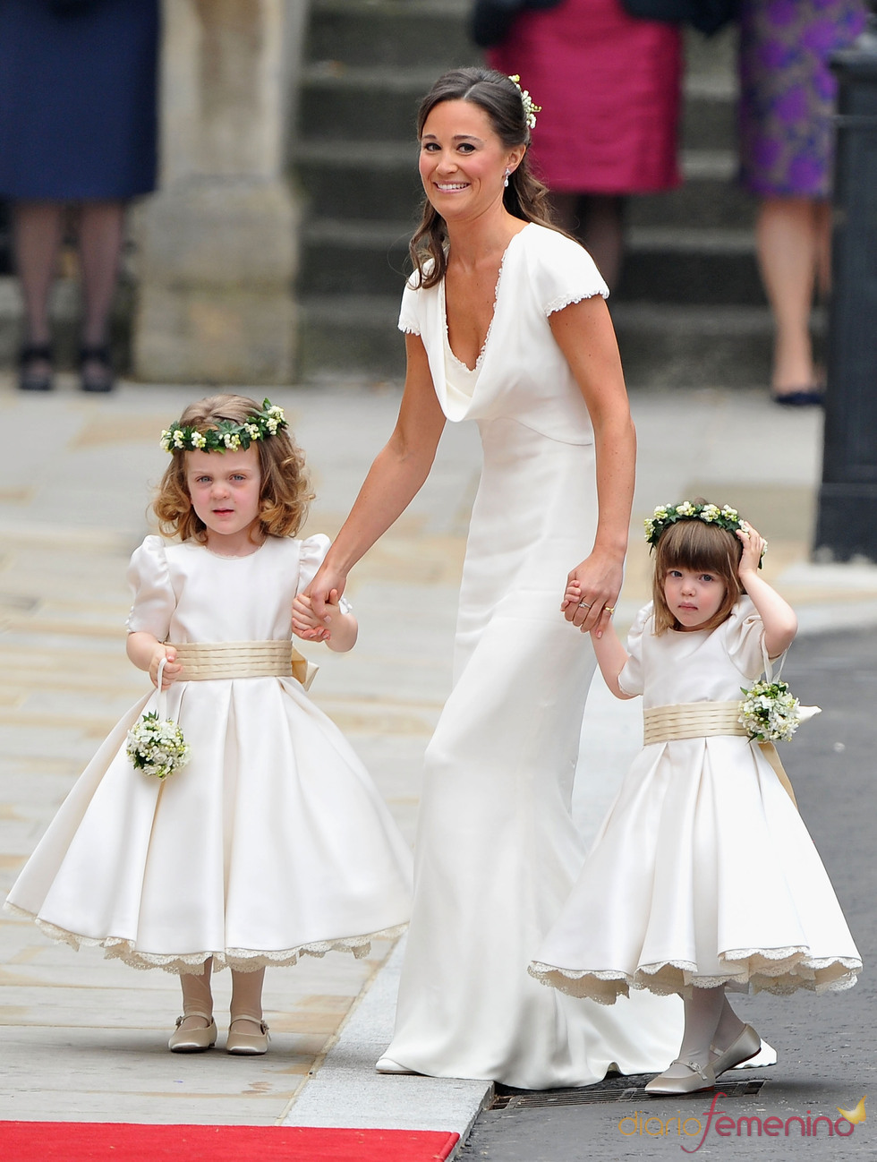 Pippa Middleton, la hermana de la novia, a su llegada a la Abadía de Westminster