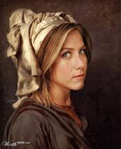 Jennifer Aniston convertida en arte clásico en Worth1000.com