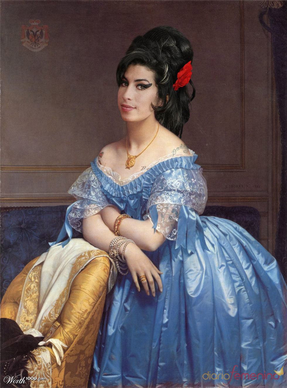 Amy Winehouse convertida en arte clásico en Worth1000.com