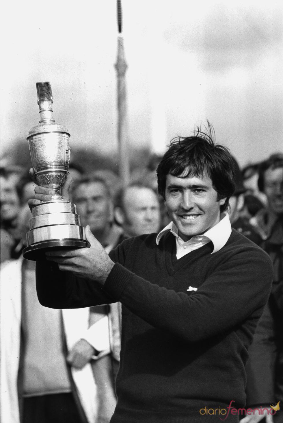 Severiano Ballesteros y su primer título europeo, el 'Open British' de 1979