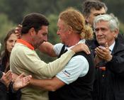 Los golfistas Jose Maria Olazábal y Miguel Ángel Jiménez despiden a Severiano Ballesteros