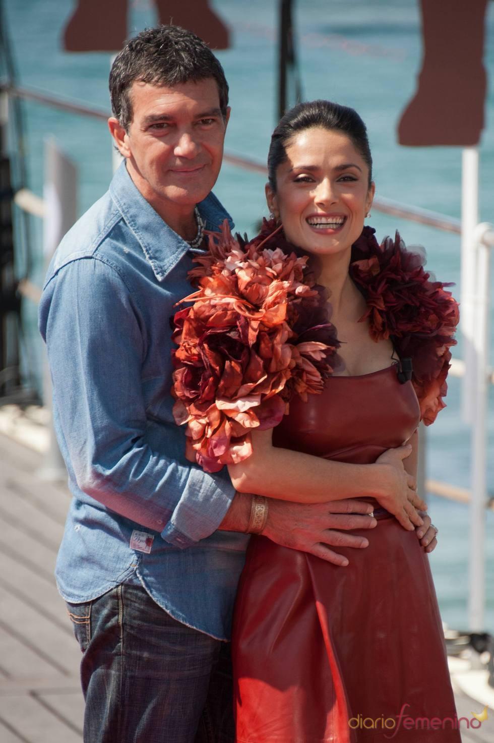 Antonio Banderas y Salma Hayek en el Festival de Cine de Cannes