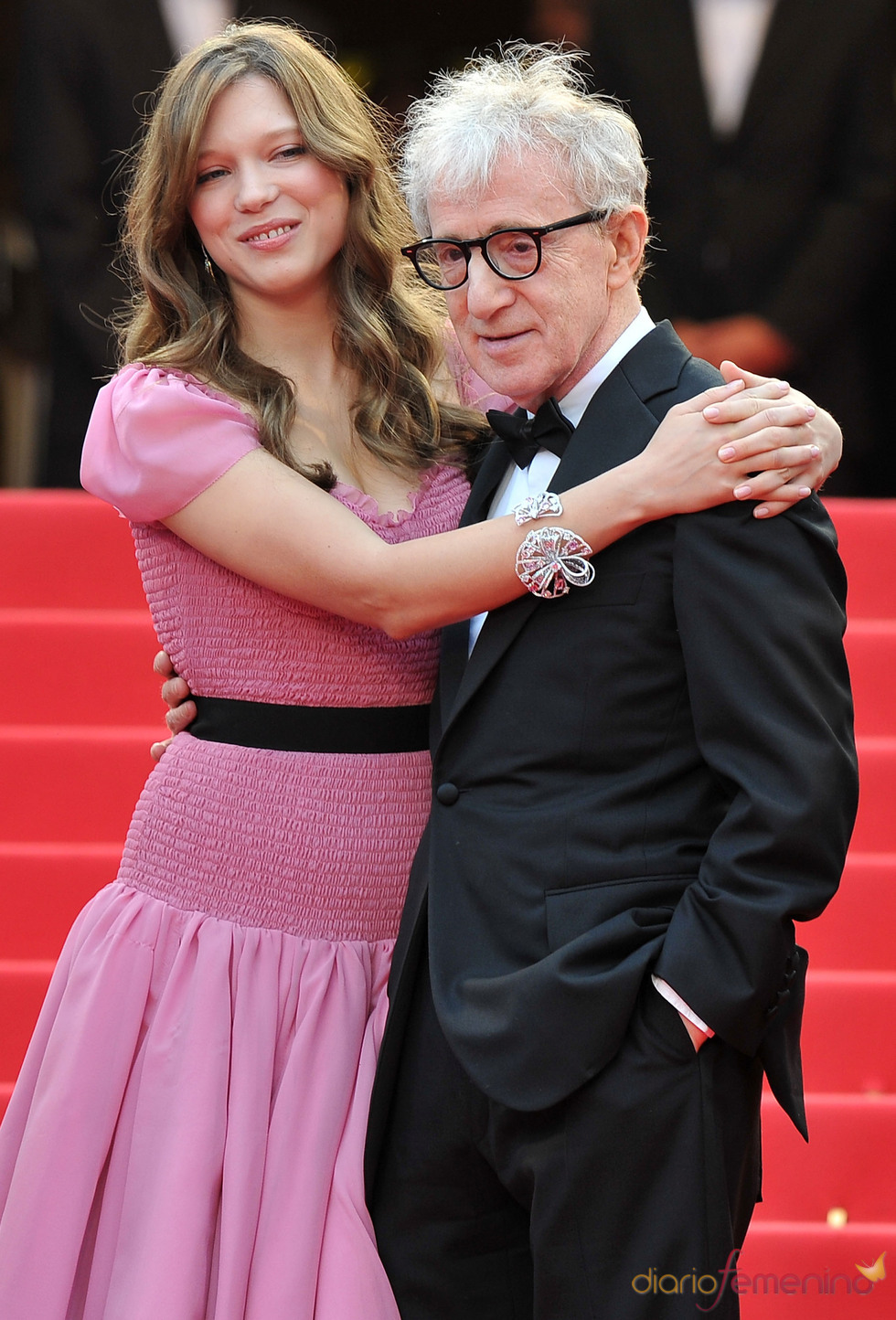 Woody Allen y Lea Seydoux en alfombra roja del Festival de Cine de Cannes 2011