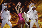 Lucía Pérez durante su actuación en el Festival de Eurovisión 2011