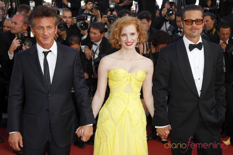 Sean Penn, Jessica Chastain y Brad Pitt en el estreno en Cannes de 'El árbol de la vida'