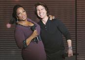 Oprah Winfrey con Tom Cruise en la grabación de su último show