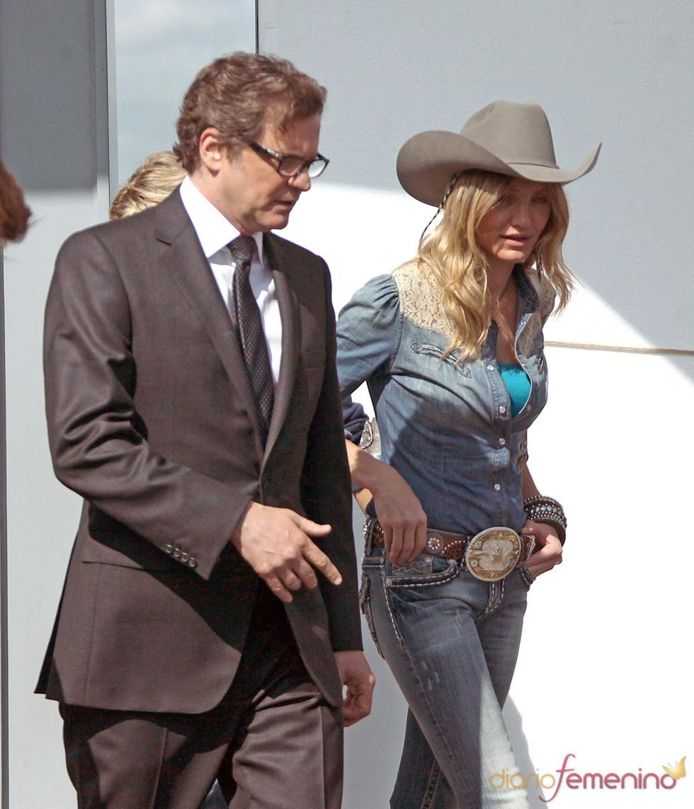 Colin Firth y Cameron Diaz en el rodaje de 'Gambit'