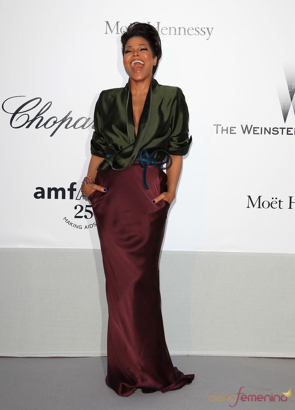 Janet Jackson en la gala benéfica contra el sida de Cannes 2011