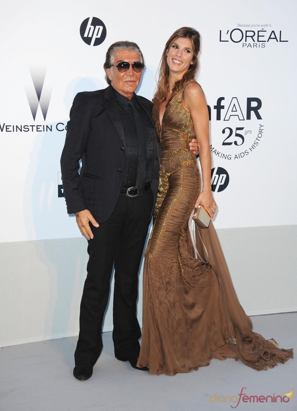 Roberto Cavalli y Elisabetta Canalis en la gala benéfica contra el sida de Cannes 2011