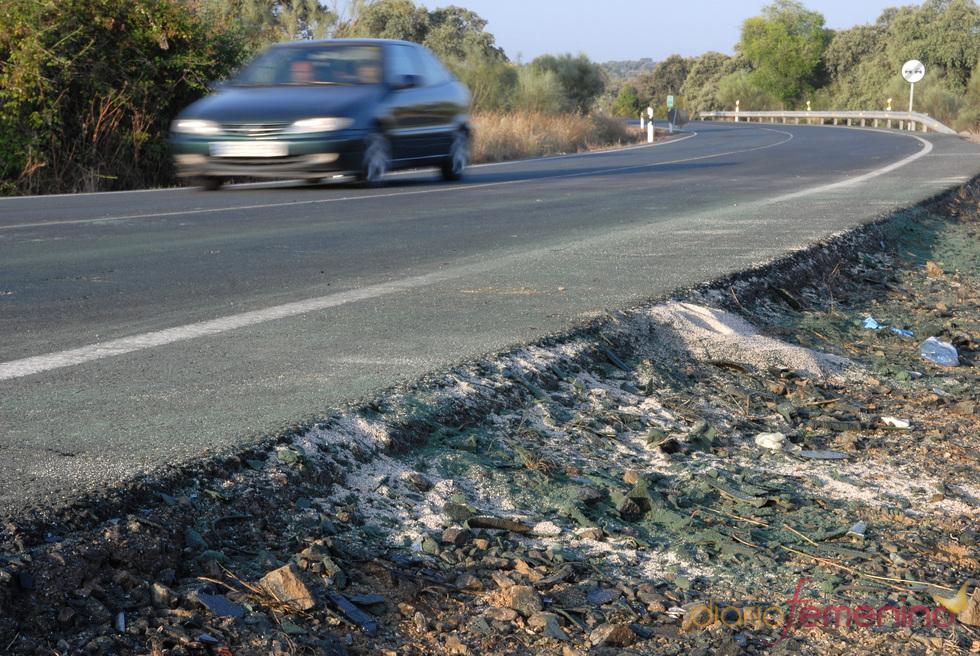 Marcas dejadas por el coche de Ortega Cano en el lugar del accidente