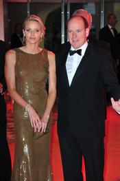 Alberto de Mónaco y Charlene Wittstock en la gala del Gran Premio de Fórmula 1