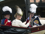 Los Condes de Wessex en la Procesión de la Orden de la Jarretera