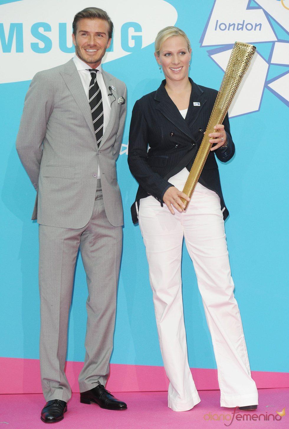 David Beckham y Zara Phillips, embajadores de los Juegos Olímpicos de Londres 2012