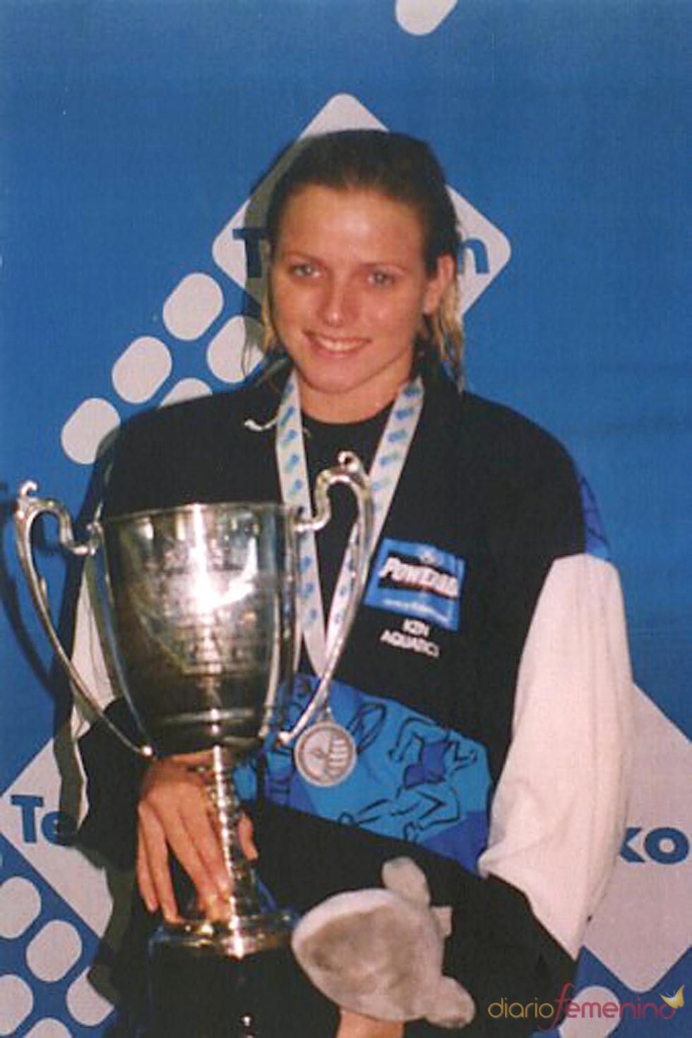 Charlene Wittstock como nadadora en la década de los 90