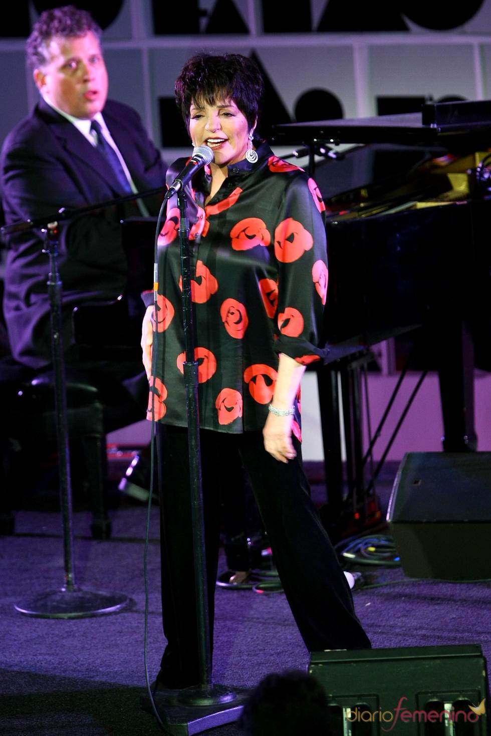 Liza Minnelli durante su actuación en la Gala amfAR 2011