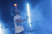 El cantante de Vetusta Morla, Pucho, durante su actuación en Madrid