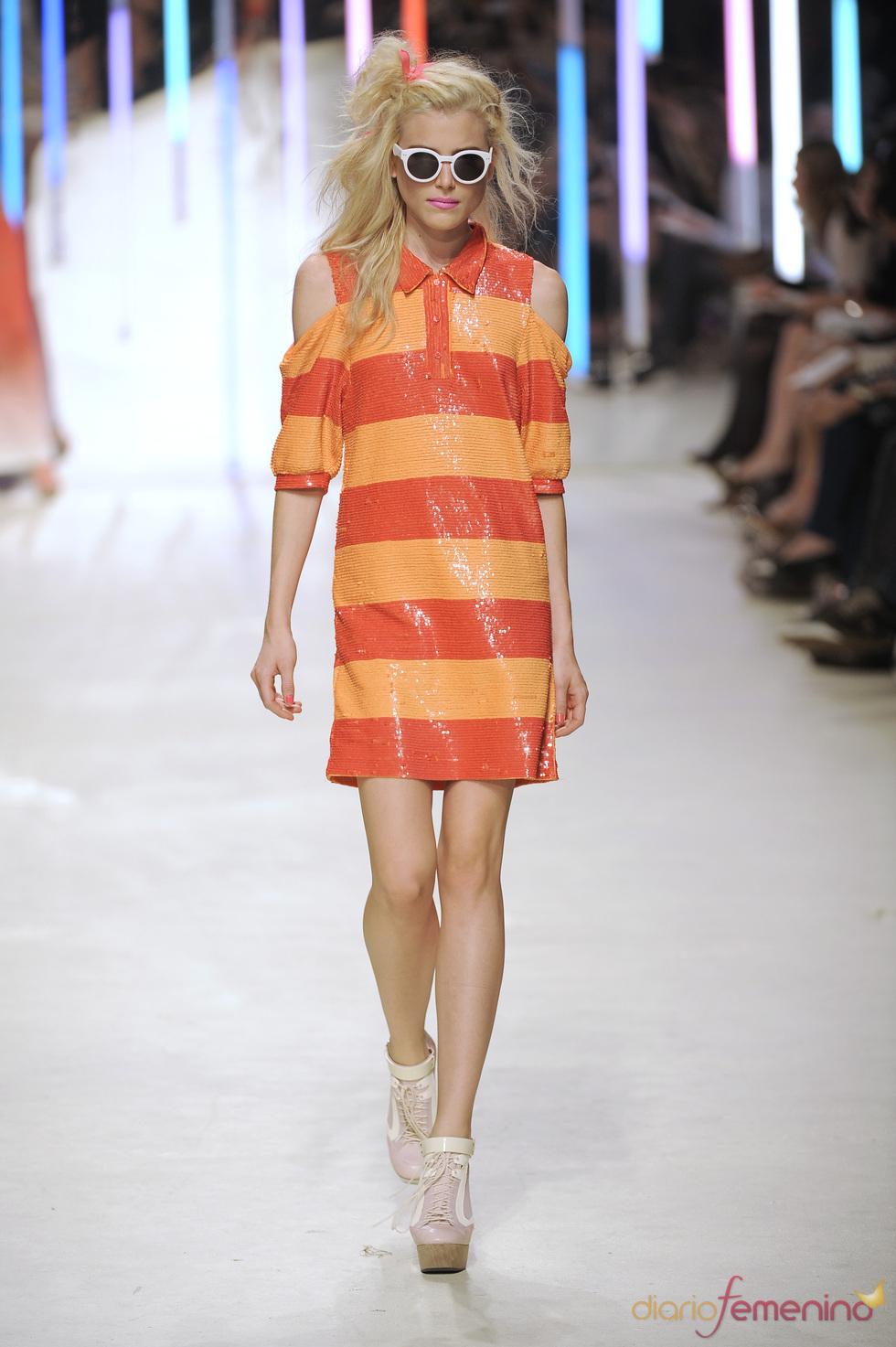 Vestido a rayas naranjas de Topshop