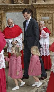 El Príncipe Felipe con sus dos hijas Leonor y Sofía en Malllorca
