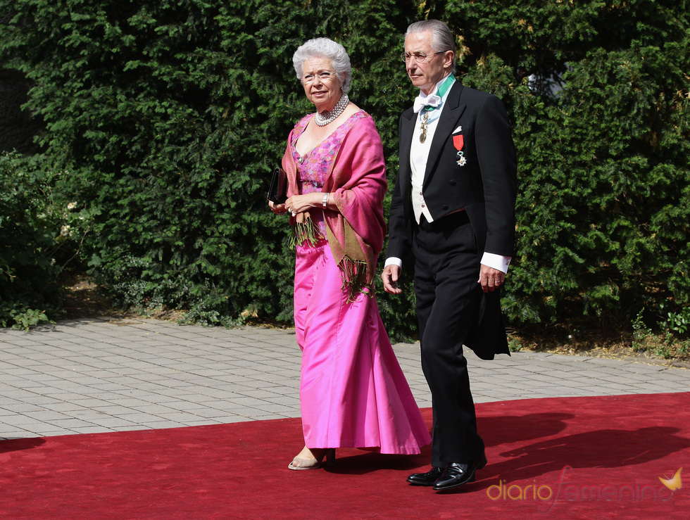 La princesa Cristina de Suecia y Tord Magnusson en la boda de Natalia de Dinamarca y Alexander Johannsmann