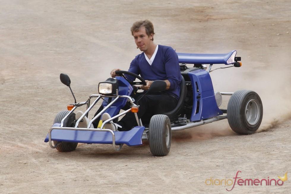 Sebastian Vettel en la grabación del '¿Qué apostamos?' alemán
