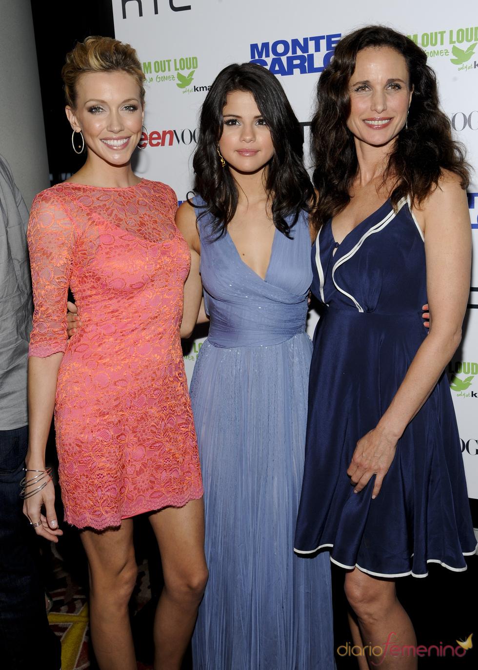 Selena Gomez, Katie Cassidy y Andie McDowell en la 'premiere' de 'Monte Carlo'