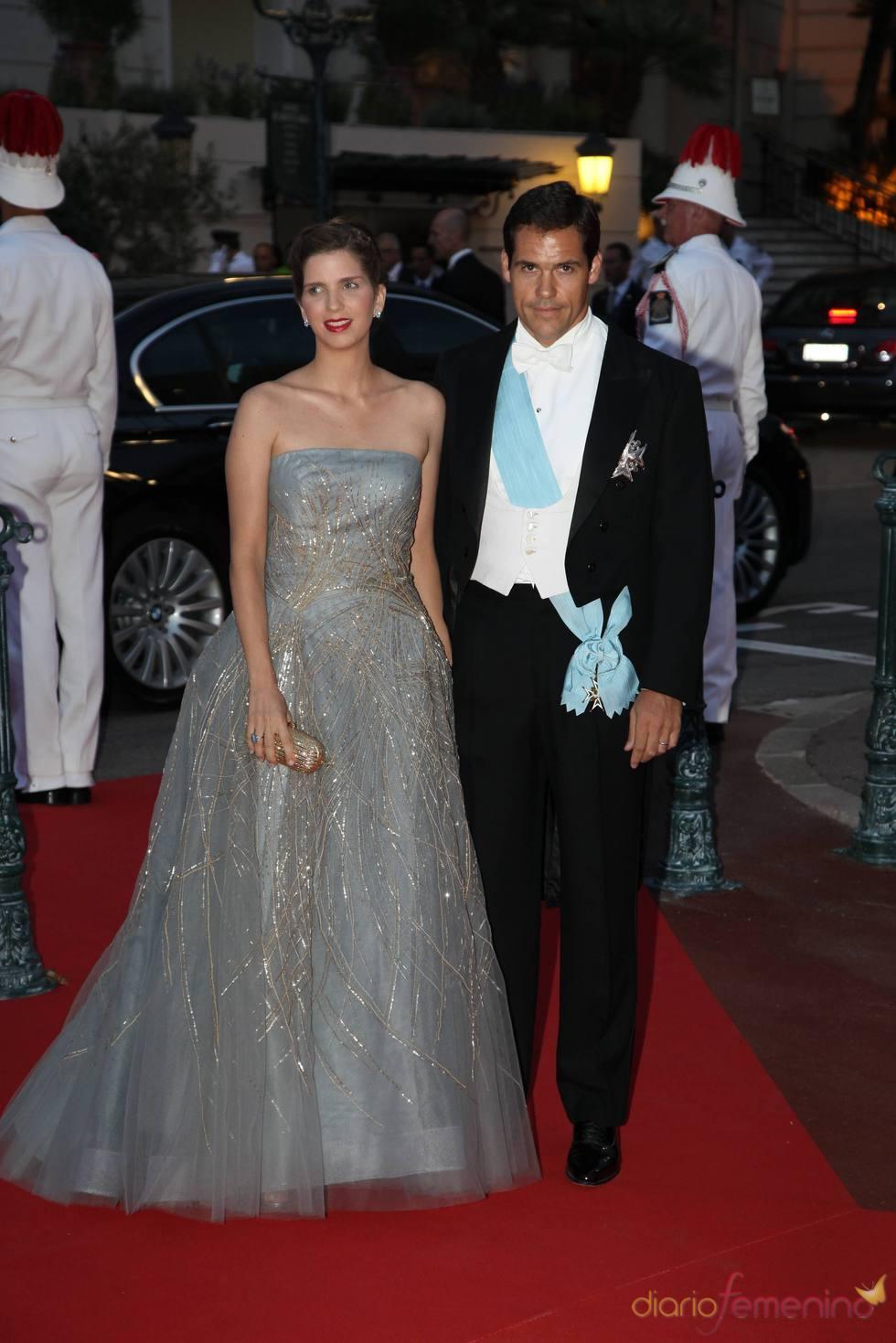 Luis Alfonso de Borbón y Margarita Vargas en la cena de gala de la Boda Real de Mónaco