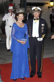 La reina Silvia de Suecia en la cena de gala de la Boda Real de Mónaco