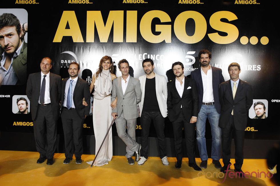 Ernesto Alterio, Goya Toledo, Alberto Lozano y Diego Martín en el estreno de 'Amigos'