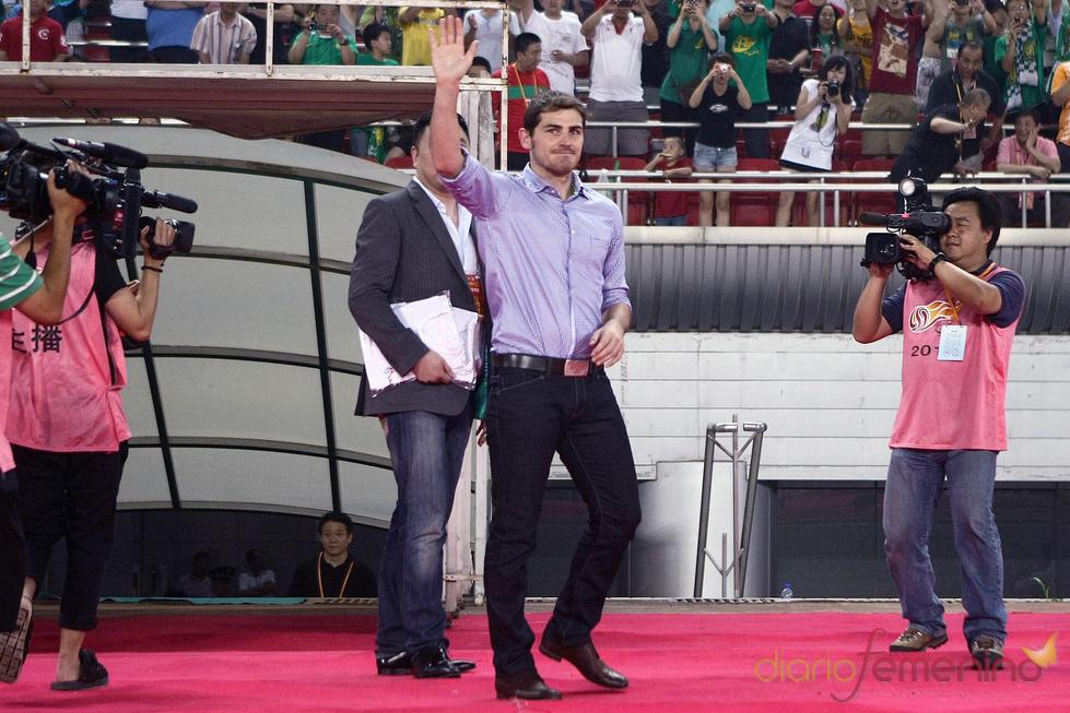 Iker Casillas en un acto solidario en Pekín