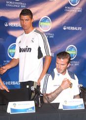 Cristiano Ronaldo y David Beckham en una presentación en Los Ángeles