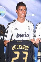 Cristiano Ronaldo en una presentación en Los Ángeles