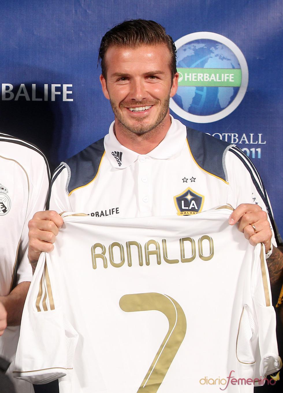 David Beckham en una presentación en Los Ángeles