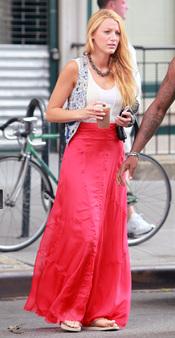 Blake Lively en el rodaje de la quinta temporada de 'Gossip Girl'