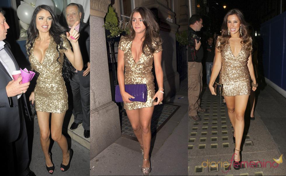 Brooke Vicent, Chloe Simms y Gabriella Ellis con el mismo vestido dorado