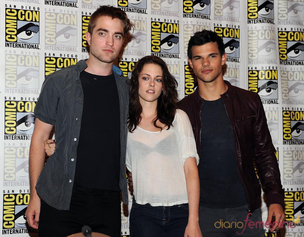 Robert Pattinson, Kristen Stewart y Taylor Lautner en el Comic Con 2011