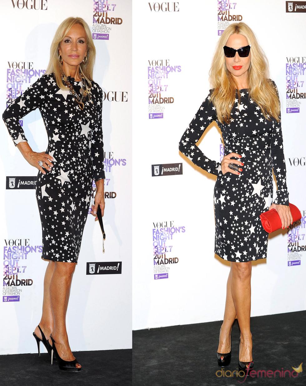 Carmen Lomana y Marta Sánchez comparten vestido en la 'Vogue Fashion Night Out 2011'