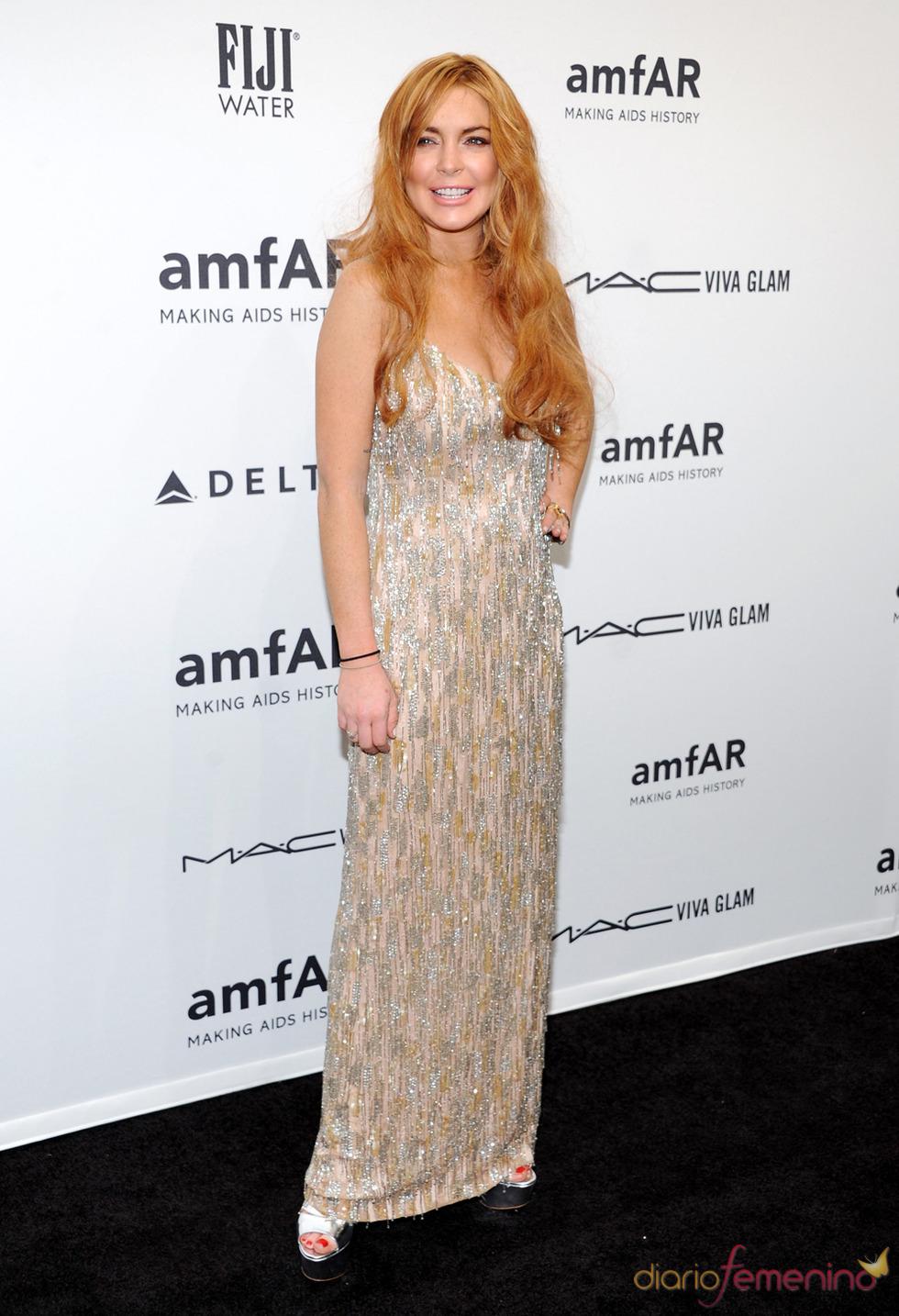 Lindsay Lohan en la gala de amfAR