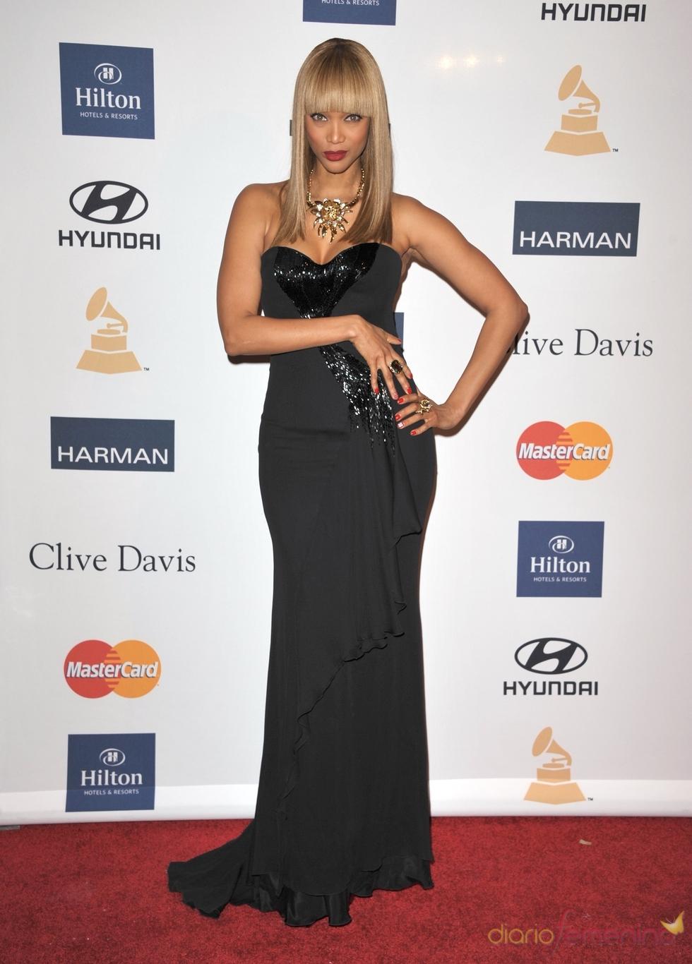 Tyra Banks en la fiesta pre Grammy 2013