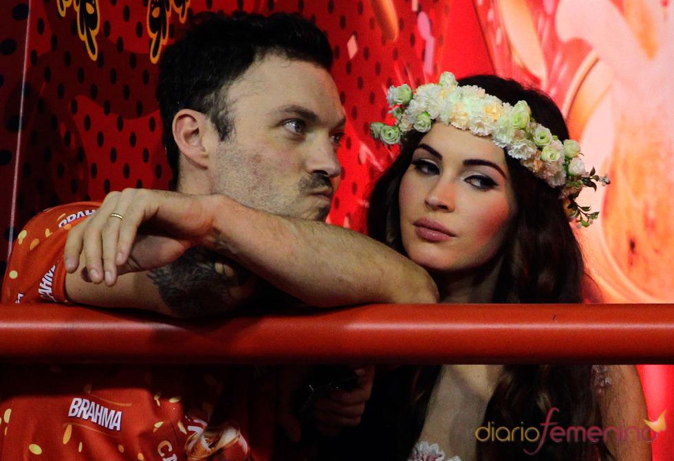Megan Fox y Brian Austin Green en el Sambódromo de los Carnavales 2013 de Río de Janeiro, Brasil