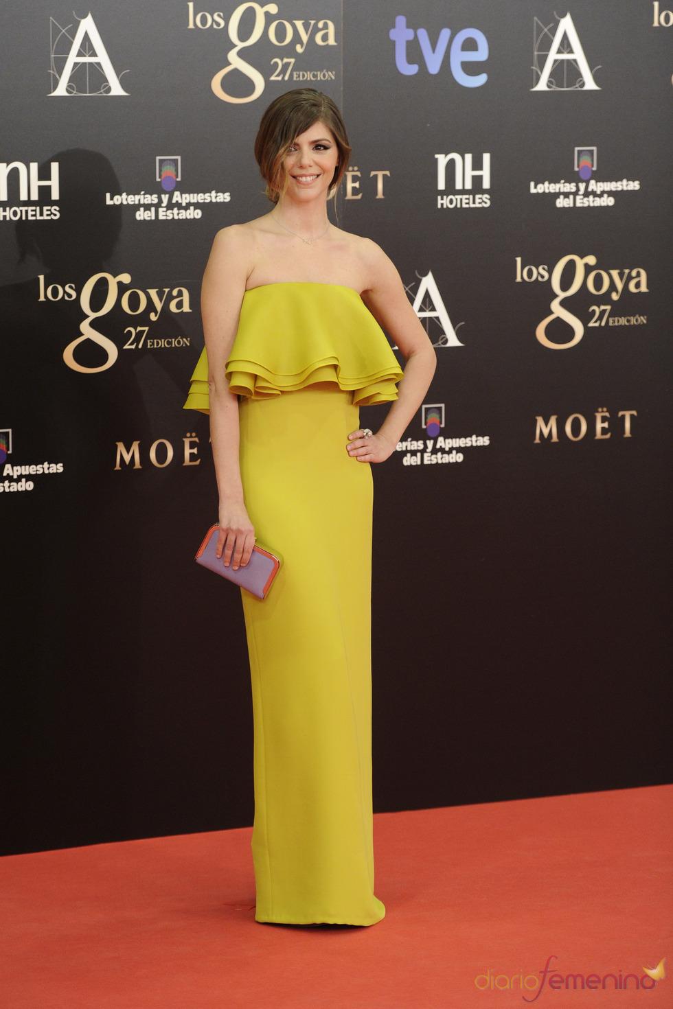 Manuela Velasco en la alfombra roja de los Goya 2013
