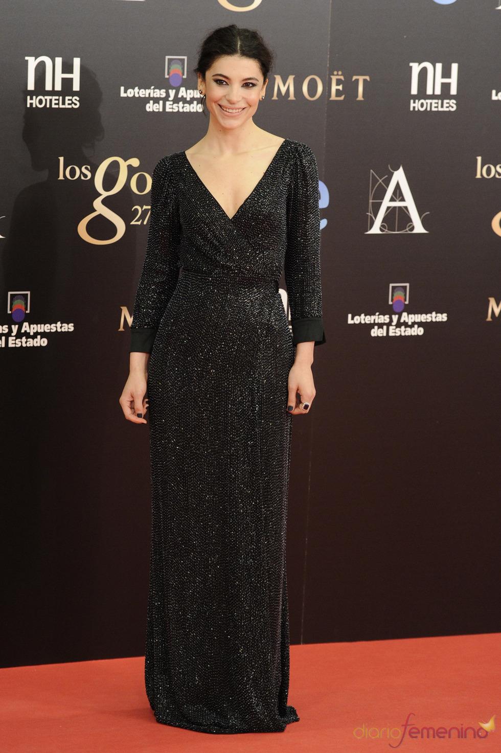 Irene Visedo en la alfombra roja de los Goya 2013