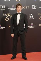 Jan Cornet en la alfombra roja de los Goya 2013