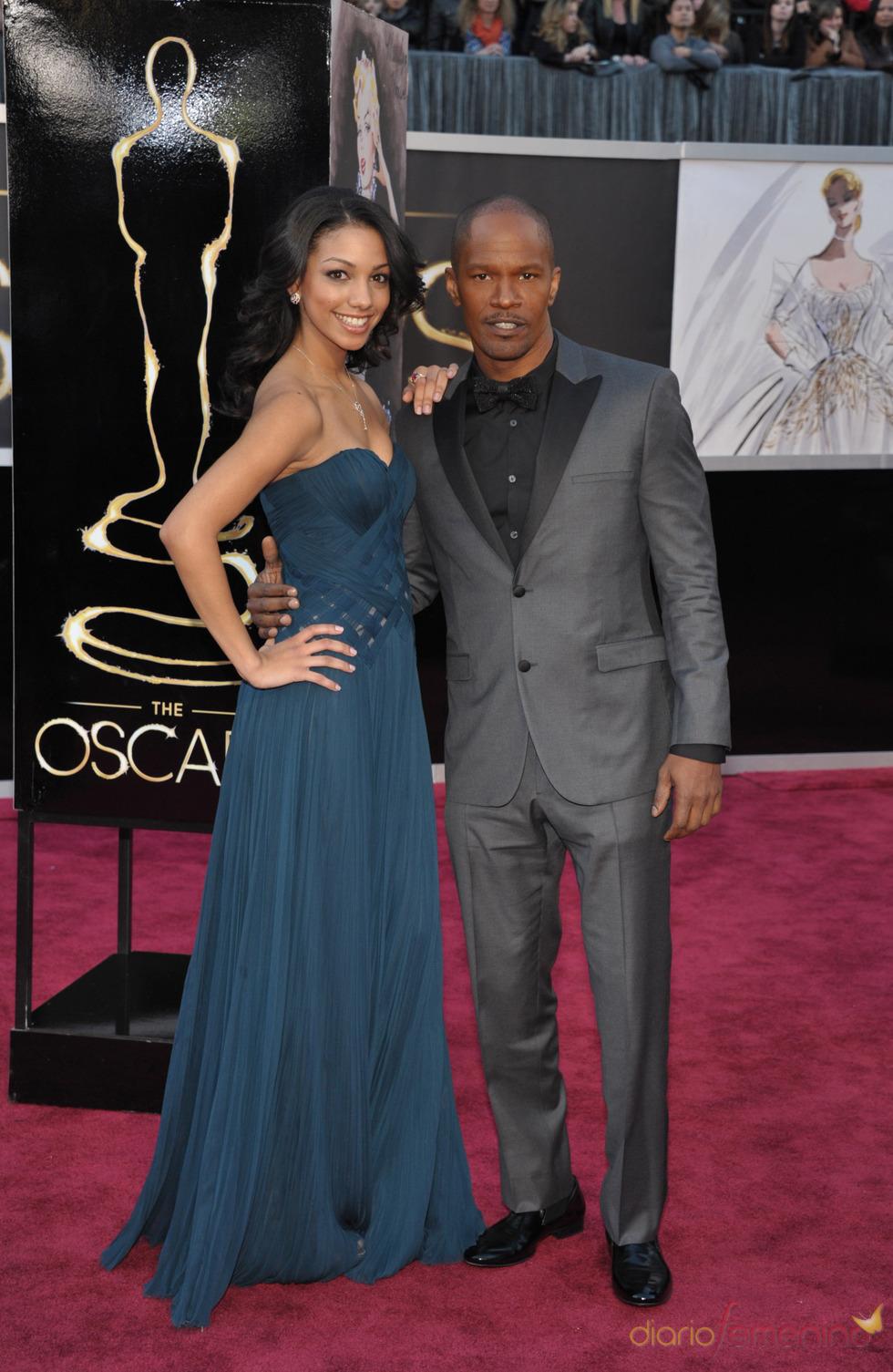 Corinne Bishop y Jamie Foxx en los Oscars 2013