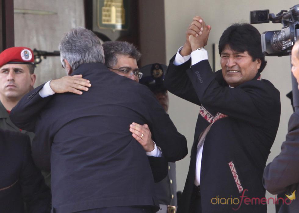 Evo Morales, presidente de Bolivia, llega al funeral de Hugo Chávez