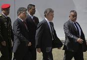 Juan Manuel Santos, presidente de Colombia, llega al funeral de Hugo Chávez