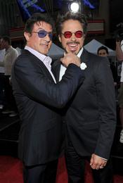 Sylvester Stallone y Robert Downey Jr. en la premiere de 'Iron Man 2'