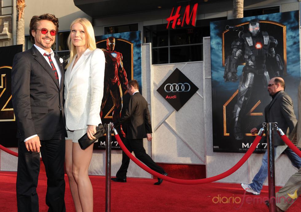 Robert Downey Jr. y Gwyneth Paltrow en la premiere de 'Iron Man 2'